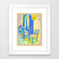 Greek Coffee Place Gold … Framed Art Print