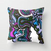 Purple Techno Throw Pillow