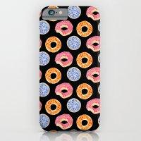 sweet things: doughnuts (black) iPhone 6 Slim Case
