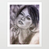 Pencil Portrait Drawing  - American Actress - Emma Stone Art Print