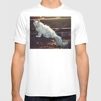 Ghost Cat Mens Fitted Tee White SMALL