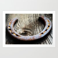 Horseshoe  Rustic brown neutral tones country western Barn close up photography Art Print