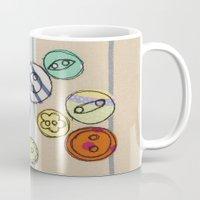 Embroidered Button Illustration Mug