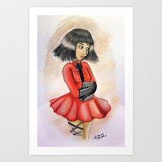 Little Girl In Red Art Print