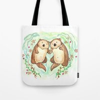 Otters Holding Hands Tote Bag