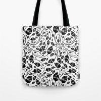 B&w Flora Pattern Tote Bag