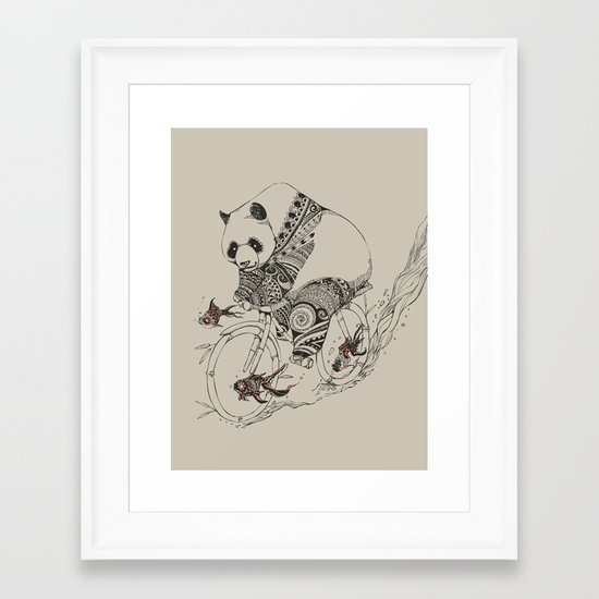 Panda and Follow Fish Framed Art Print