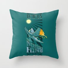 Icarus, The Incredible Flying Man Throw Pillow