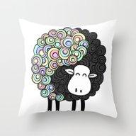 Yin Yang Sheep Throw Pillow