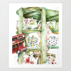 Alice's Teapots Art Print