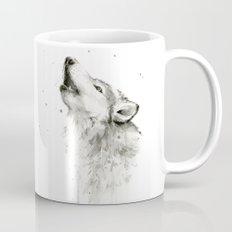 Wolf Howling Watercolor Wildlife Painting Mug
