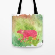 Baer  With Flowers I Tote Bag