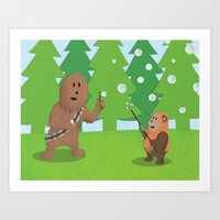 SW Kids - Chewie Bubbles Art Print