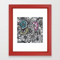 Doodle Birds and Flowers Framed Art Print