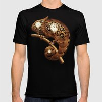 Steampunk Chameleon Vintage Style Mens Fitted Tee Black SMALL