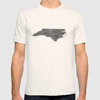 Typographic North Carolina Mens Fitted Tee Natural SMALL