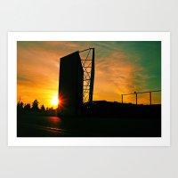 Drive-in sunset Art Print