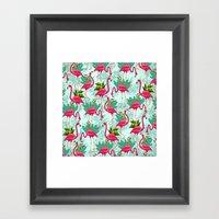 Pink Flamingos Exotic Birds Framed Art Print