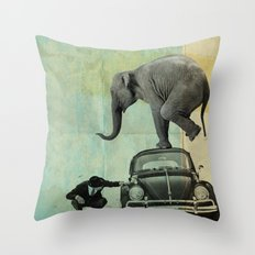 Looking for Tiny, Elephant on a VW beetle Throw Pillow