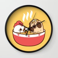 Wall Clock featuring Chicken Noodle Puglie So… by Puglie
