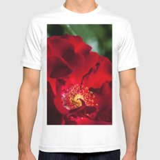 Red Rose White SMALL Mens Fitted Tee