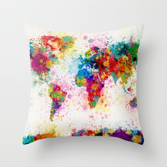Throw Pillows With World Map : Map of the World Map Paint Splashes Throw Pillow by ArtPause Society6