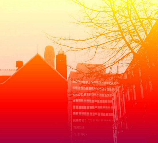 Sunset City Outline Art Print