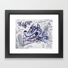 Wolf & bat Framed Art Print