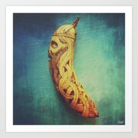 Viking Skull Banana Art Print