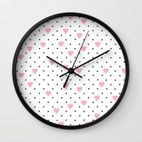 Pin Point Hearts Pink Wall Clock