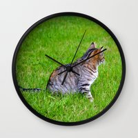 Orange And Tiger Cat Wall Clock