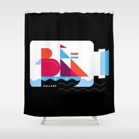 Postcards from Amsterdam / Bottle Ship Shower Curtain