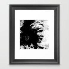 Stark - Native American Indian Portrait in B&W Framed Art Print