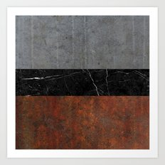 Concrete, Marble and Rusted Iron Abstract Art Print