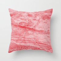 Grunge red and white stripes texture Throw Pillow