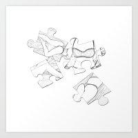 Puzzle Woman Art Print