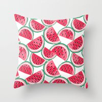 Watermelon White Throw Pillow