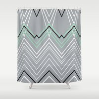 Mint Grey Chevy Shower Curtain