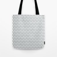 Triangles - Gray And Whi… Tote Bag