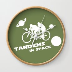 Tandems in Space in Green Wall Clock