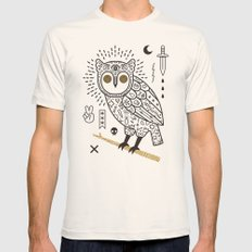 Hypno Owl Mens Fitted Tee Natural SMALL