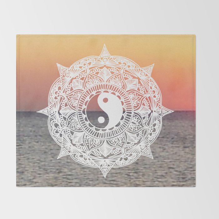 sunset yin yang mandala throw blanket home decor