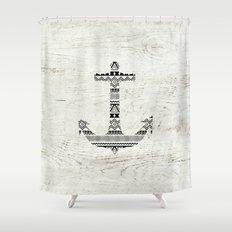 Aztec Nautical Anchor Black White Vintage Wood Shower Curtain