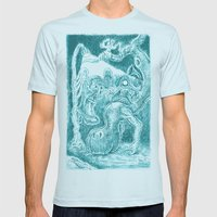 Creatures under Lamppost Mens Fitted Tee Light Blue SMALL