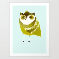 Golden Owl illustration  Art Print
