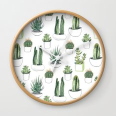 watercolour cacti and succulent Wall Clock