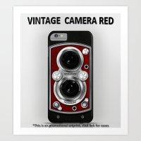 Vintage Camera Red Art Print