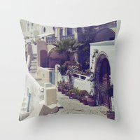 Streets Of Santorini I  Throw Pillow