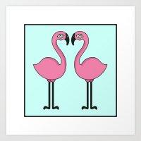 Flamingo's love Art Print