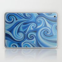 Parting Waves abstract ocean sea swirls painting Laptop & iPad Skin
